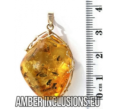 Genuine Baltic amber gold pendant with fossil insects-  More than 10 Flies